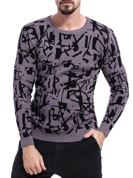 Geometric Print Slim Fit Men's Pullover Sweater