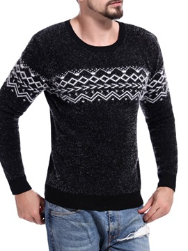 Simple Print Round Neck Men's Pullover Sweater