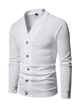 Plain Single-Breasted Men's Cardigan Sweater
