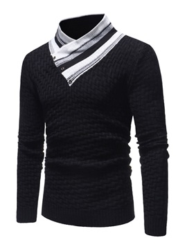Patchwork High Collar Men's Pullover Sweater