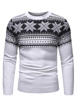 Patchwork Color Block Round Neck Men's Pullover Sweater