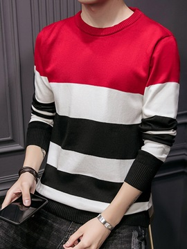 Color Block Patchwork Round Neck Men's Pullover Sweater