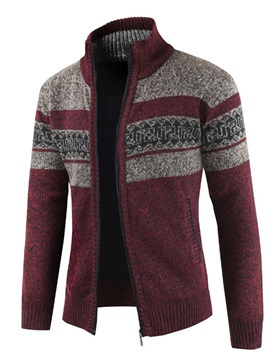 Color Block Patchwork Stand Collar  Men's Sweater
