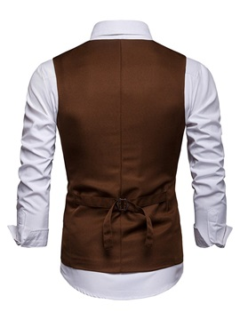 Plain Single-Breasted Slim Fit Men's Waistcoat