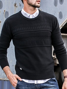 Plain Standard Round Neck Casual Men's Sweater