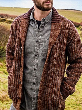 Lapel Patchwork Standard Single-Breasted Men's Sweater