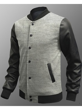 Patchwork Stand-Collar Single-Breasted Jacket