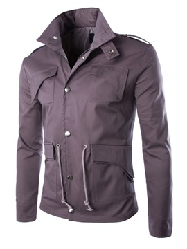 Gray Stand Collar Single-Breasted Men's Jacket