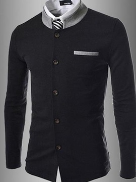 Stand Collar Single-Breasted Cotton Men Coat