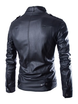 Slim-Fit PU Multi-Pockets Men's Motor Jacket