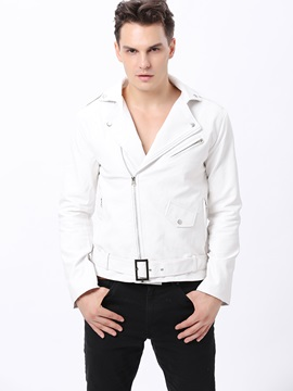 Slim-Fit Zip-Cuff Men's Motor Jacket