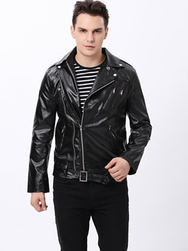 Slim-Fit Turn-Down Collar Zip Men's Jacket