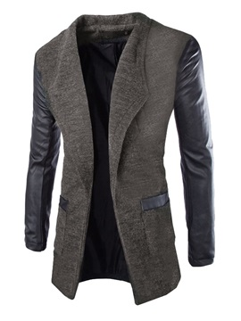 Color Block Patchwork Men's Casual Coat