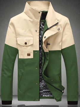 Stitching Color Block Snaps-Button Jacket