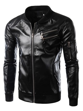 Men's Solid Color Stand Collar Zip Leather Coat