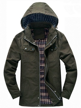 Men's Solid Color Hooded Zip Up Coat