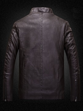 Men's Solid Color Thicken Flocking Zipped Up Jackets
