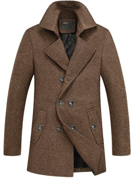 Solid Color Thicken Men's Double-Breasted Coat