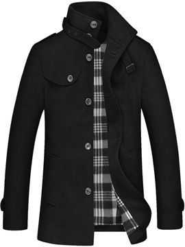 Men's Plain Stand Collar Single-Breasted Wool Overcoat