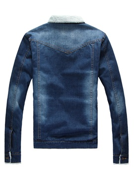Men's Stand Collar Denim Sherpa Lined Coats