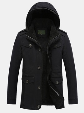 Thicken Hidden Zipper Hood Men's Cotton Parka with Velet