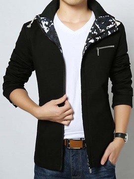 Slim Fit Camouflage Lined Men's Hood Coat