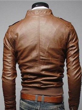 Chest Faux Zip Pocket Decorated Solid Color Men's Jacket