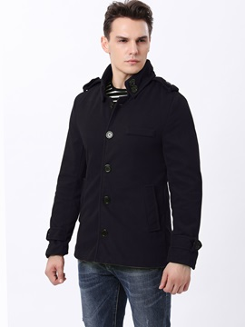 Single Breasted Lapel Solid Color Men's Thicken Coat