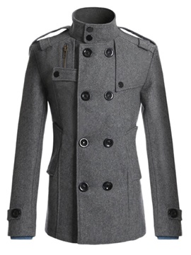 Solid Color Double-Breasted Stand Collar Men's Coat