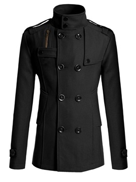 Tidebuy Plain Double-Breasted Stand Collar Men's Coat