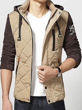 Color Block Lace Up Hooded Men's Thicken Overcoat