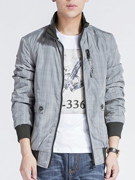 Stand Collar Zip Decorated Plaid Men's Jacket