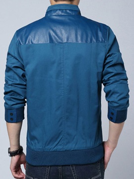 Stand Color PU Patchwork Zip Up Men's Jacket