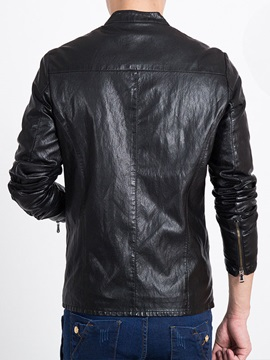 Peaked Lapel Solid Color Men's Leather Jacket