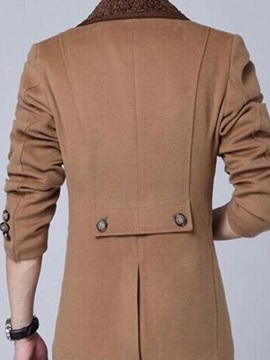 Notched Collar Single-Breasted Men's Woolen Blend Coat