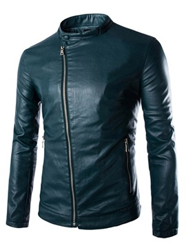 Stand Collar Oblique Zipper Men's Leather Jacket