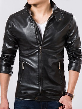 Solid Color Stand Collar Men's PU Biker Jacket