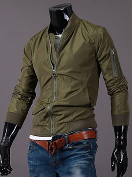 Peaked Lapel Solid Color Full-Zipper Men's Jacket