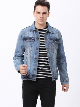 Chest Pockets Single-Breasted Lapel Men's Denim Jacket