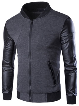 PU Patched Peaked Lapel Men's Zip Up Jacket
