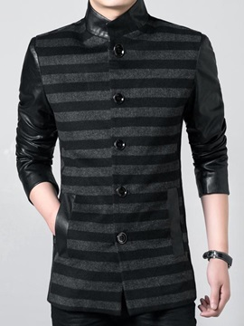 Stand Collar PU Patched Single-Breasted Men's Jacket