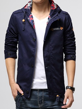 Hidden Zipper Floral Printed Lined Men's Jacket