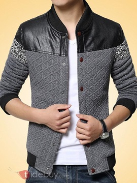 Color Block Peaked Lapel Men's Jacket