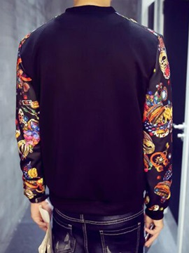 Floral Printed Sleeve Zip Men's Jacket