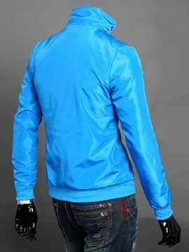 Solid Color Stand Collar Men's Full-Zip Jacket
