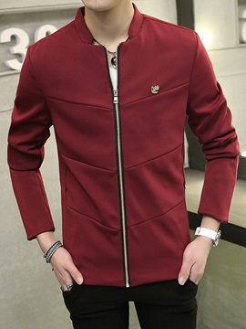 Solid Color Zipper Up Men's Peaked Lapel Jacket