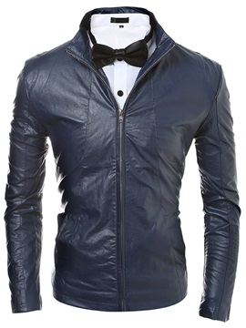 Zipper Casual Men's Long Sleeve PU Jacket