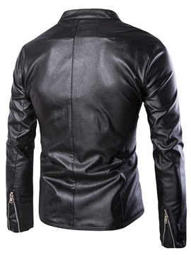 Solid Color Zipper Men's Stand Collar PU Jacket