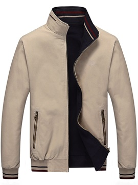 Solid Color Men's Stand Collar Jacket