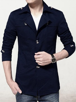 Single-breasted Men's Solid Color Coat
